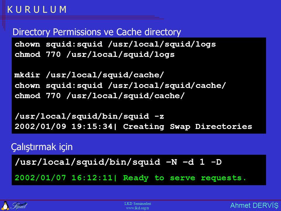 Ahmet DERVİŞ LKD Seminerleri www.lkd.org.tr K U R U L U M /usr/local/squid/bin/squid –N –d 1 -D Çalıştırmak için 2002/01/07 16:12:11| Ready to serve requests.