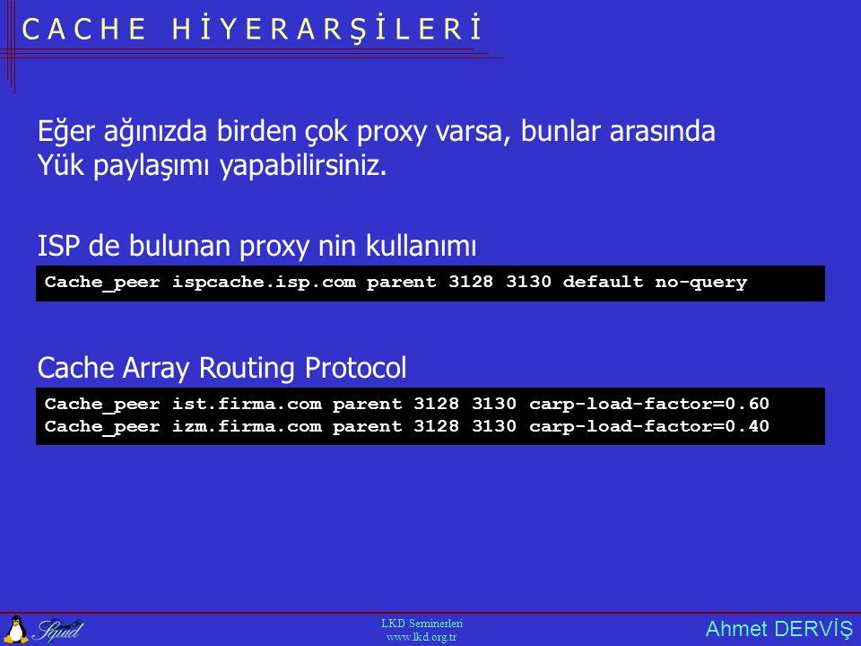 Ahmet DERVİŞ LKD Seminerleri www.lkd.org.tr C A C H E H İ Y E R A R Ş İ L E R İ ISP de bulunan proxy nin kullanımı Cache_peer ispcache.isp.com parent 3128 3130 default no-query Eğer ağınızda birden çok proxy varsa, bunlar arasında Yük paylaşımı yapabilirsiniz.