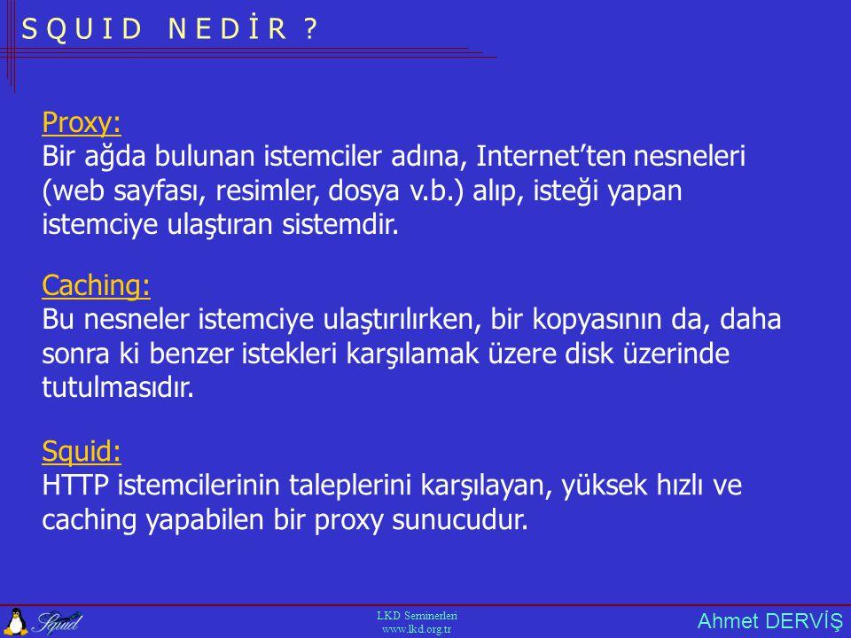Ahmet DERVİŞ LKD Seminerleri www.lkd.org.tr P R O T O K O L L E R •HTTP •FTP •Gopher •Wais •SSL •SNMP •Cache Digest •ICP