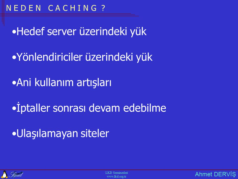 Ahmet DERVİŞ LKD Seminerleri www.lkd.org.tr C O N F I G U R E P A R A M E T R E L E R İ --prefix (--prefix=/usr/local/squid) --enable-snmp --enable-async-io (glibc 2.1.3) --enable-storeio=diskd --enable-linux-netfilter --enable-useragent-log --enable-time-hack --enable-cache-digests --enable-err-language=Turkish --enable-delay-pools