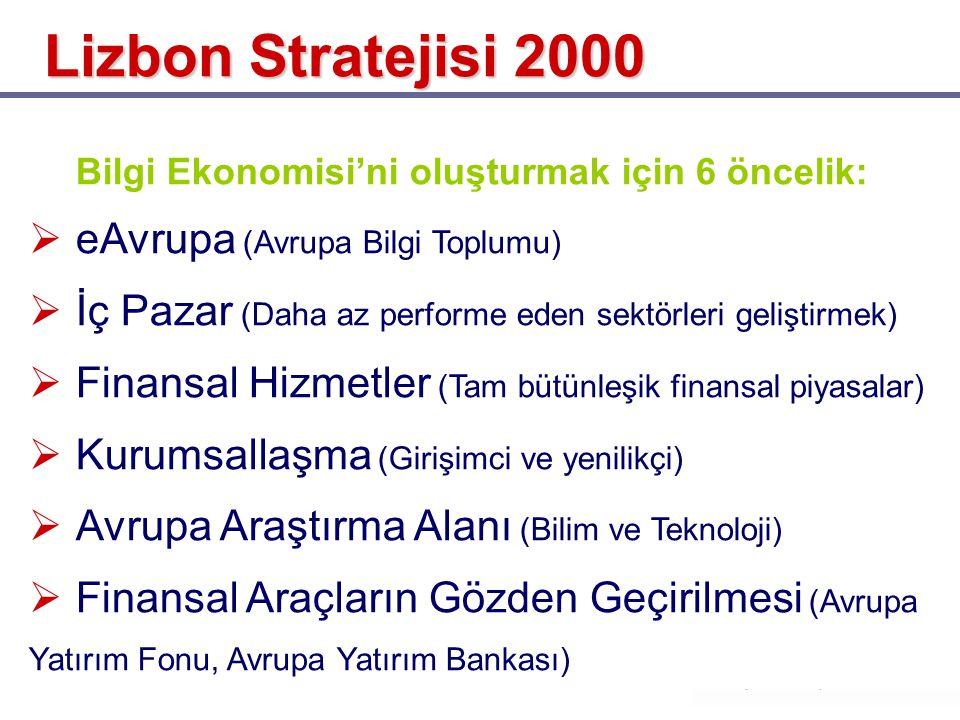 Bilgi Ekonomisi'ni oluşturmak için 6 öncelik:  eAvrupa (Avrupa Bilgi Toplumu)  İç Pazar (Daha az performe eden sektörleri geliştirmek)  Finansal Hi