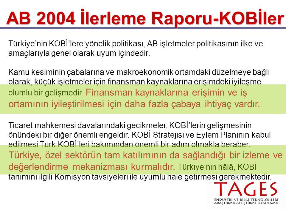 AB 2004 İlerleme Raporu-KOBİler Türkiye'nin KOBİ'lere yönelik politikası, AB işletmeler politikasının ilke ve amaçlarıyla genel olarak uyum içindedir.