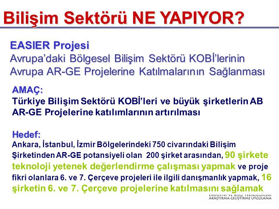Bilişim Sektörü NE YAPIYOR? AMAÇ: Türkiye Bilişim Sektörü KOBİ'leri ve büyük şirketlerin AB AR-GE Projelerine katılımlarının artırılmasıHedef: Ankara,