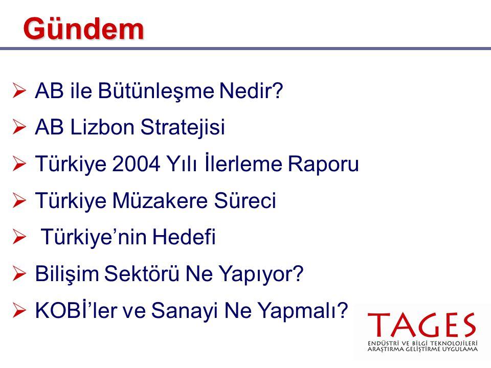  AB ile Bütünleşme Nedir?  AB Lizbon Stratejisi  Türkiye 2004 Yılı İlerleme Raporu  Türkiye Müzakere Süreci  Türkiye'nin Hedefi  Bilişim Sektörü