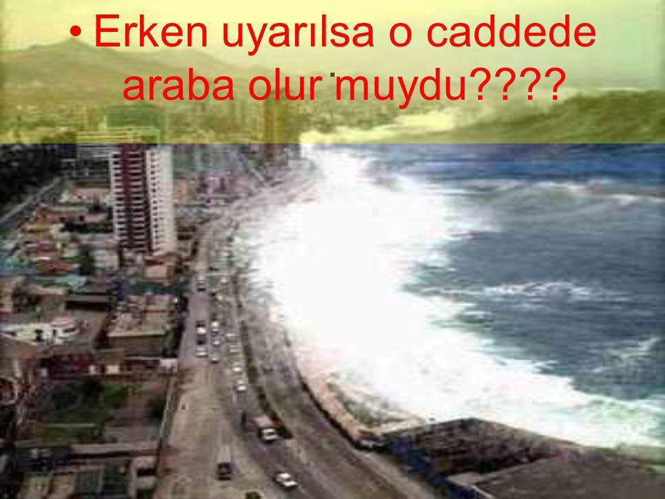 . •E•Erken uyarılsa o caddede araba olur muydu????