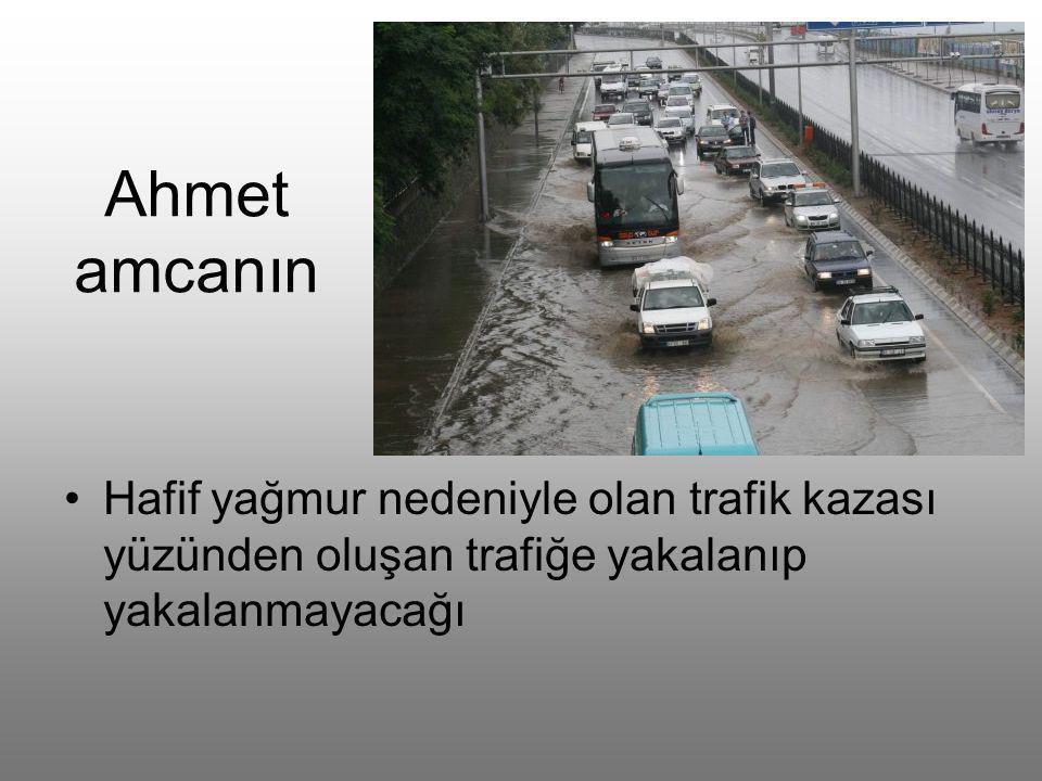 Ahmet amcanın •H•Hafif yağmur nedeniyle olan trafik kazası yüzünden oluşan trafiğe yakalanıp yakalanmayacağı