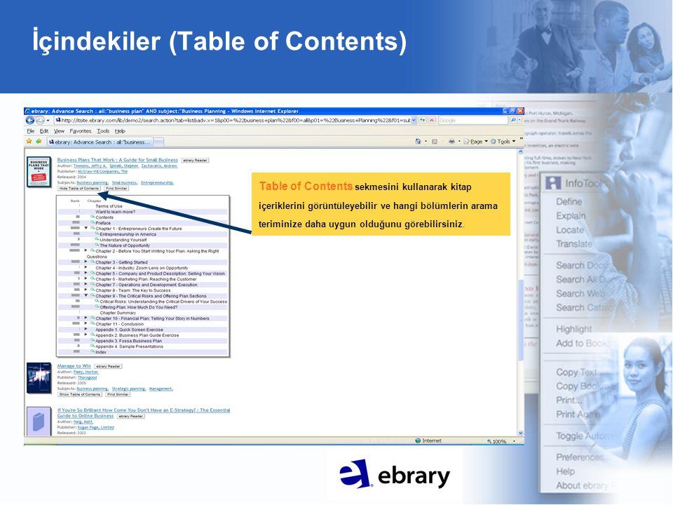 İçindekiler (Table of Contents) Table of Contents sekmesini kullanarak kitap içeriklerini görüntüleyebilir ve hangi bölümlerin arama teriminize daha uygun olduğunu görebilirsiniz.