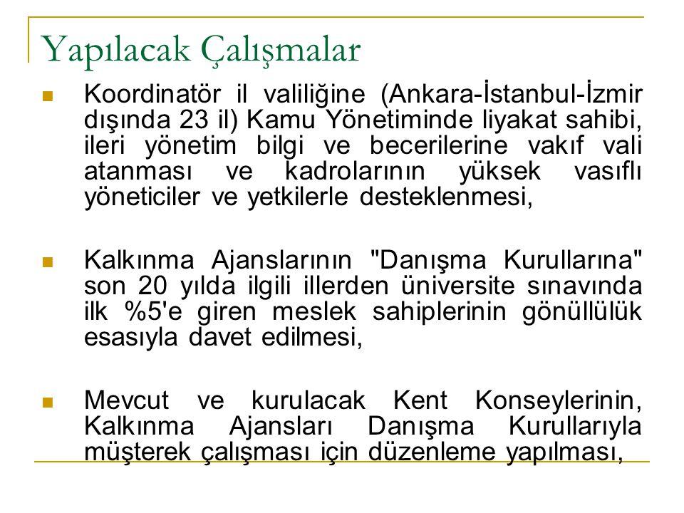Yapılacak Çalışmalar  Koordinatör il valiliğine (Ankara-İstanbul-İzmir dışında 23 il) Kamu Yönetiminde liyakat sahibi, ileri yönetim bilgi ve beceril