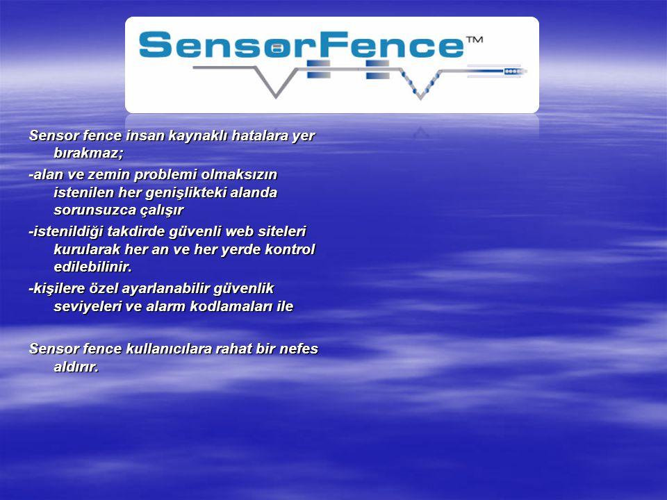Sensor fence insan kaynaklı hatalara yer bırakmaz; -alan ve zemin problemi olmaksızın istenilen her genişlikteki alanda sorunsuzca çalışır -istenildiğ