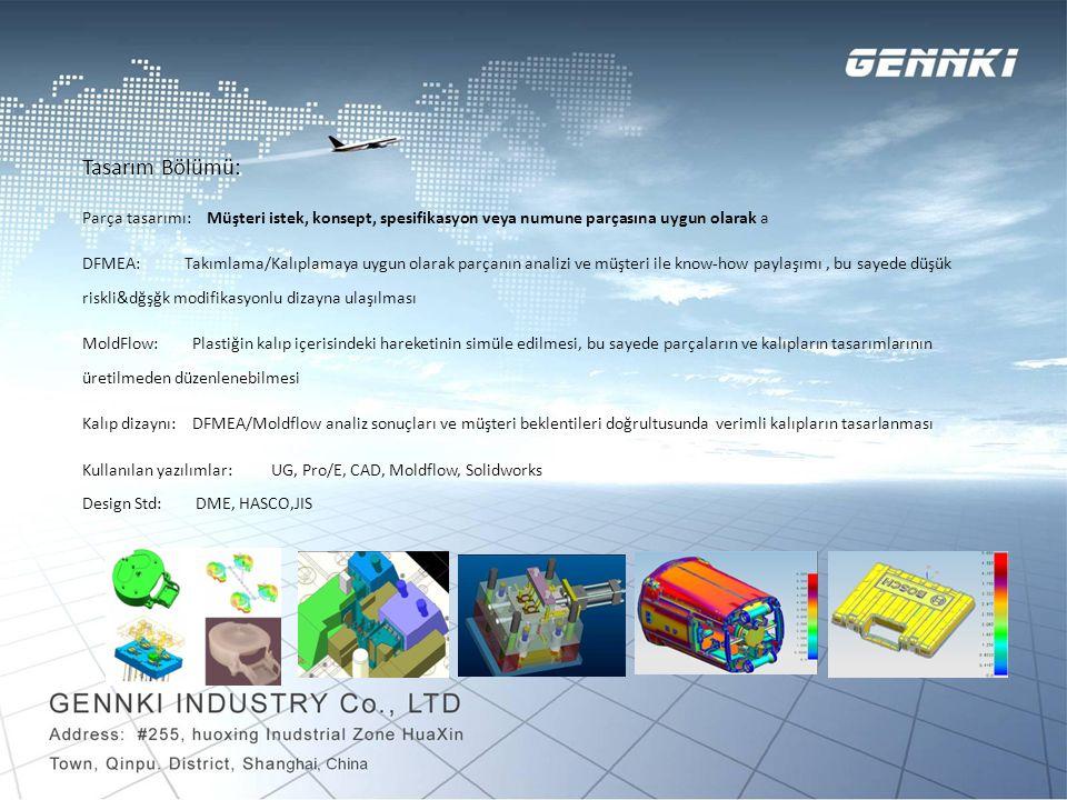 Kalıp İmalathanesi: Gennki kalıp imalathanesi 2000 metre karelik alanda, 40 çalışanla hizmet vermektedir.