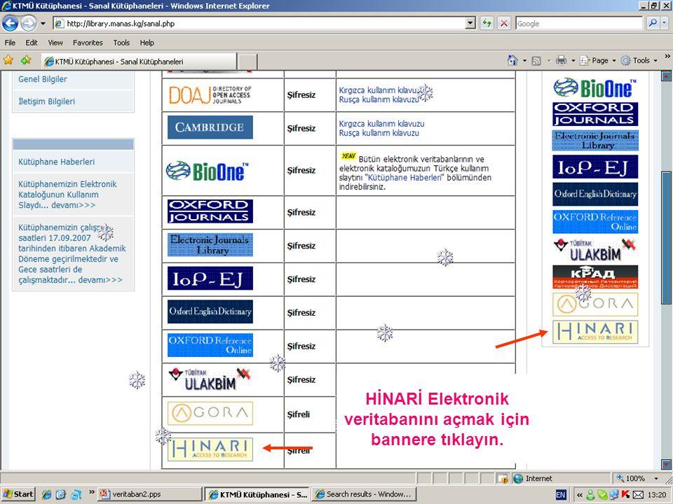 HİNARİ Elektronik veritabanını açmak için bannere tıklayın.