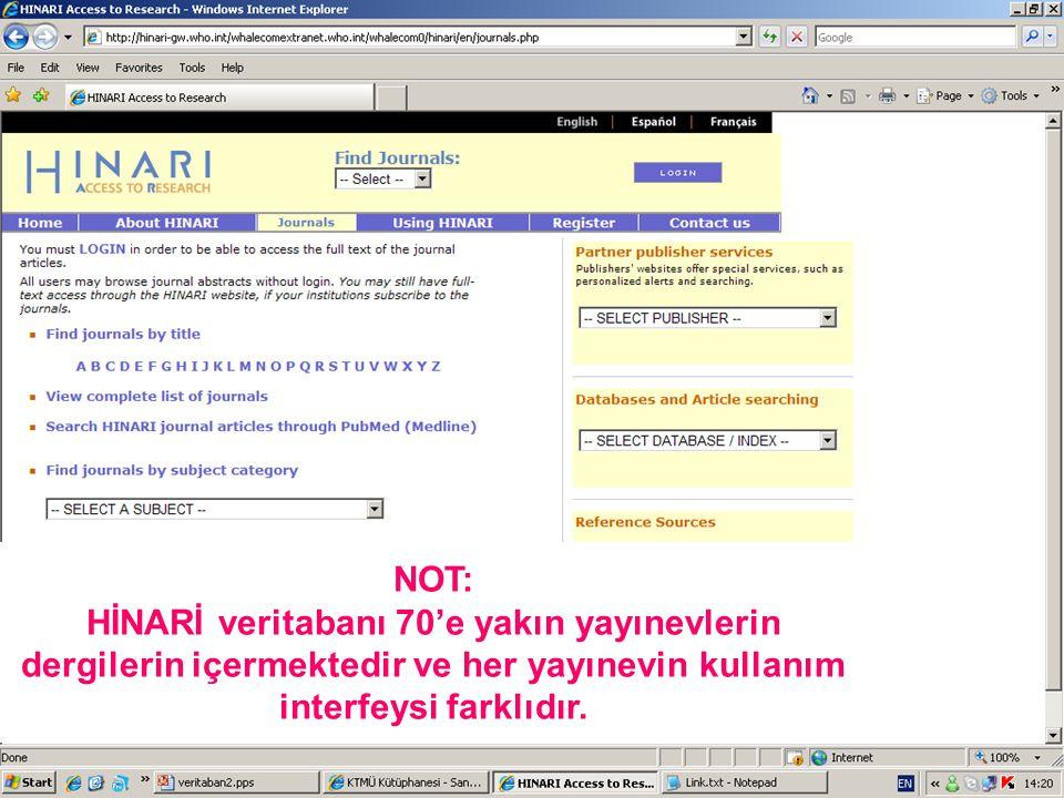NOT: HİNARİ veritabanı 70'e yakın yayınevlerin dergilerin içermektedir ve her yayınevin kullanım interfeysi farklıdır.