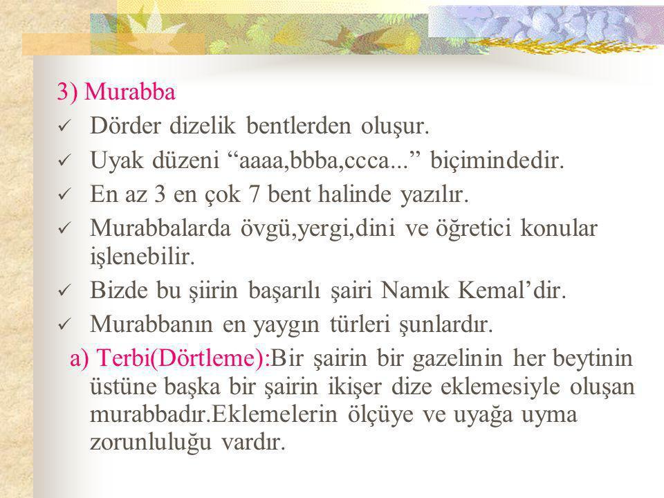3) Murabba  Dörder dizelik bentlerden oluşur. Uyak düzeni aaaa,bbba,ccca... biçimindedir.