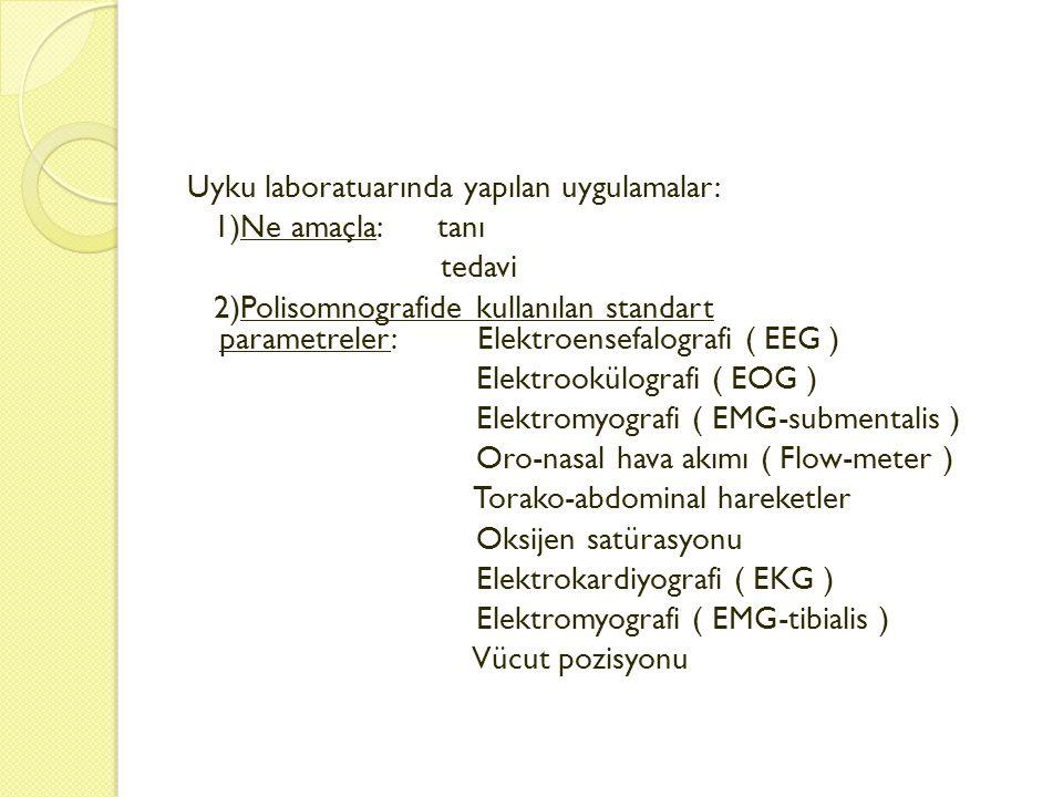 Uyku laboratuarında yapılan uygulamalar: 1)Ne amaçla: tanı tedavi 2)Polisomnografide kullanılan standart parametreler: Elektroensefalografi ( EEG ) El