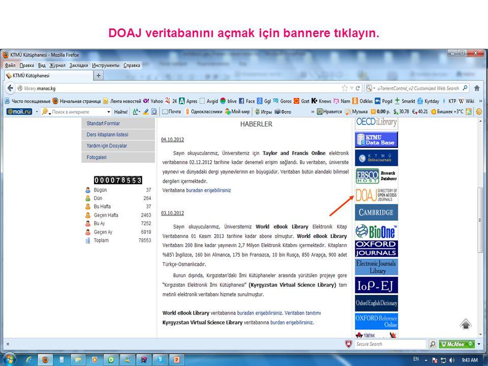 DOAJ veritabanını açmak için bannere tıklayın.