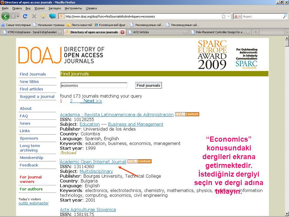 Economics konusundaki dergileri ekrana getirmektedir.