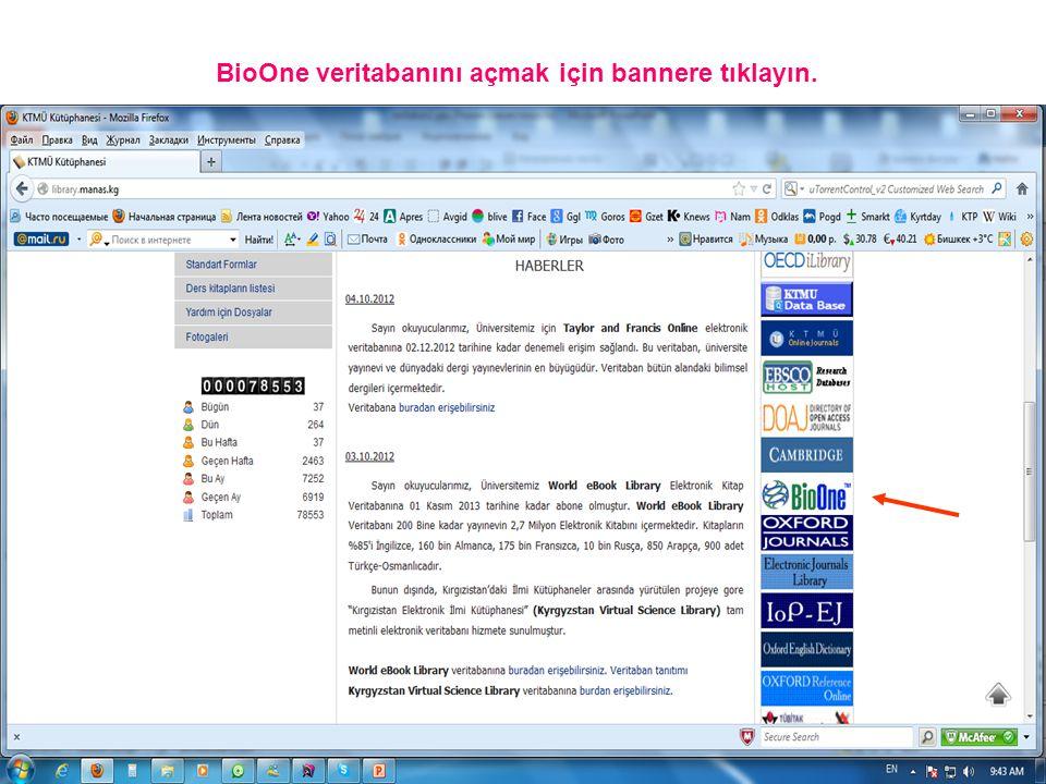 BioOne veritabanını açmak için bannere tıklayın.