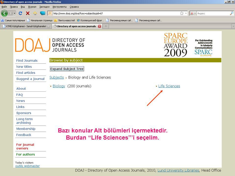 Oxford Journals veritabanını açmak için bannere tıklayın.