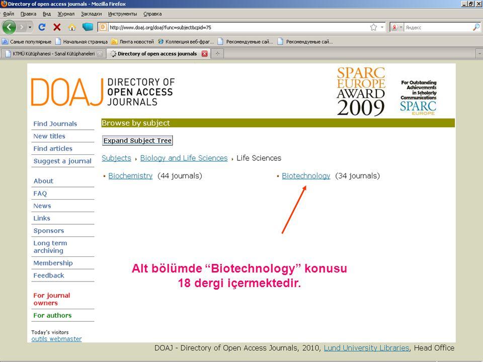 Alt bölümde Biotechnology konusu 18 dergi içermektedir.