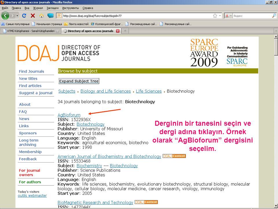 Örnek olarak Bütün dergilerin konularında english language kelimesini içeren 2007 yılı yayınlanmış olan makaleleri bulalım.
