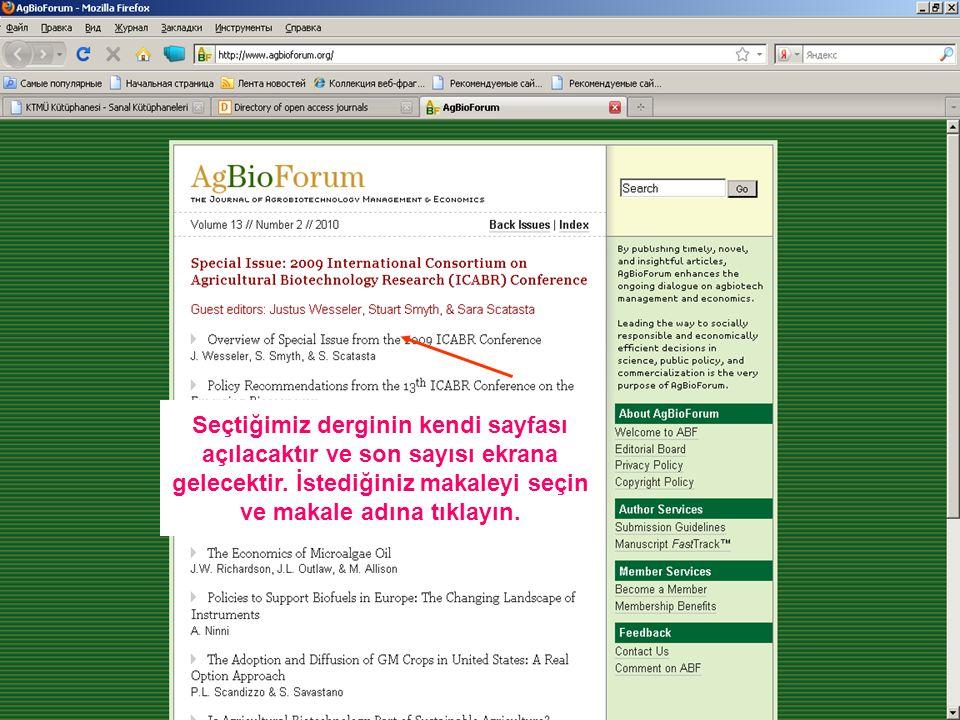 Sonuçtaki makalelerden istediğinizi seçin ve Tam metini okumak için Full text linkine tıklayın.