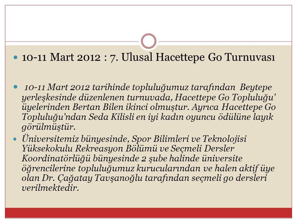  10-11 Mart 2012 : 7. Ulusal Hacettepe Go Turnuvası  10-11 Mart 2012 tarihinde topluluğumuz tarafından Beytepe yerleşkesinde düzenlenen turnuvada, H