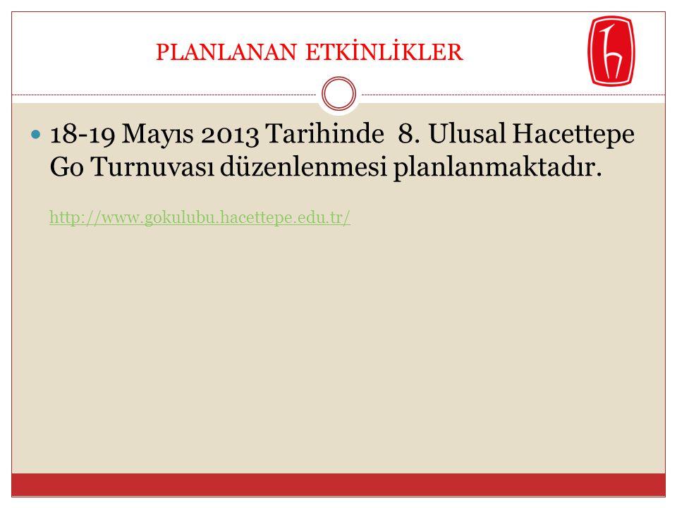  18-19 Mayıs 2013 Tarihinde 8. Ulusal Hacettepe Go Turnuvası düzenlenmesi planlanmaktadır. http://www.gokulubu.hacettepe.edu.tr/ PLANLANAN ETKİNLİKLE