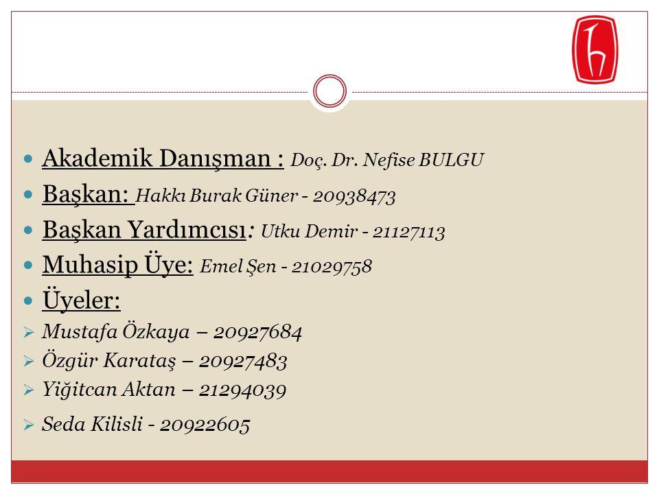  Akademik Danışman : Doç. Dr. Nefise BULGU  Başkan: Hakkı Burak Güner - 20938473  Başkan Yardımcısı: Utku Demir - 21127113  Muhasip Üye: Emel Şen