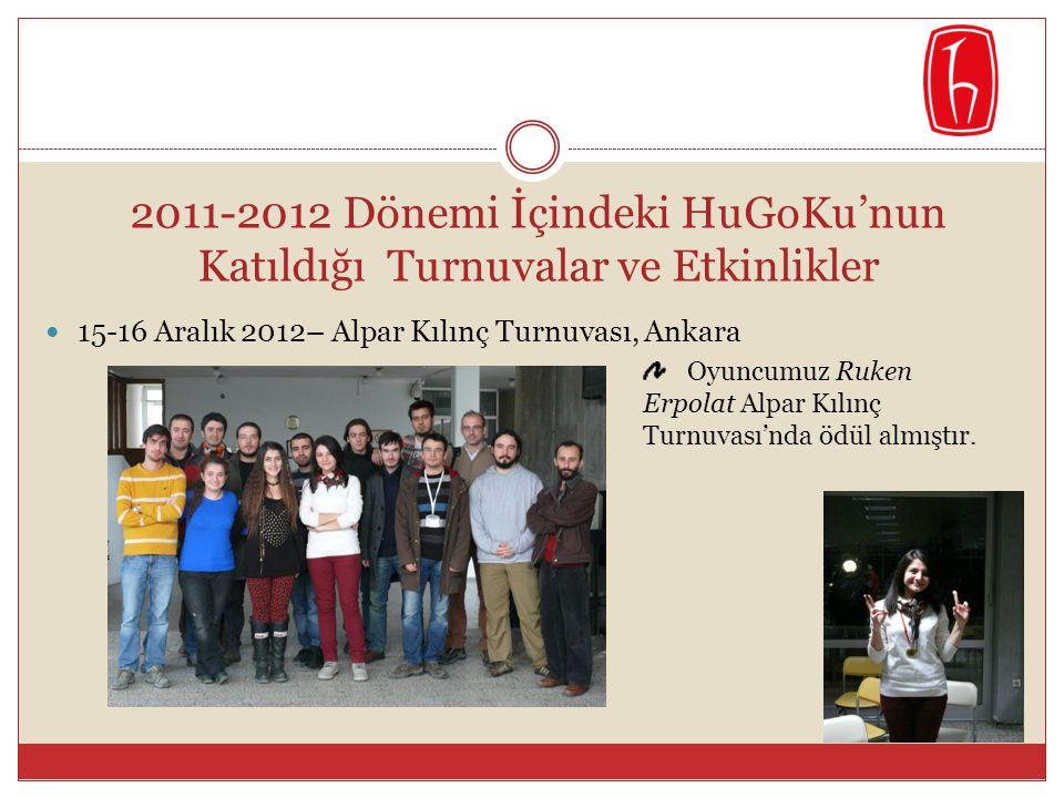 2011-2012 Dönemi İçindeki HuGoKu'nun Katıldığı Turnuvalar ve Etkinlikler  15-16 Aralık 2012– Alpar Kılınç Turnuvası, Ankara Oyuncumuz Ruken Erpolat A