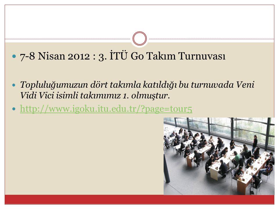  7-8 Nisan 2012 : 3. İTÜ Go Takım Turnuvası  Topluluğumuzun dört takımla katıldığı bu turnuvada Veni Vidi Vici isimli takımımız 1. olmuştur.  http: