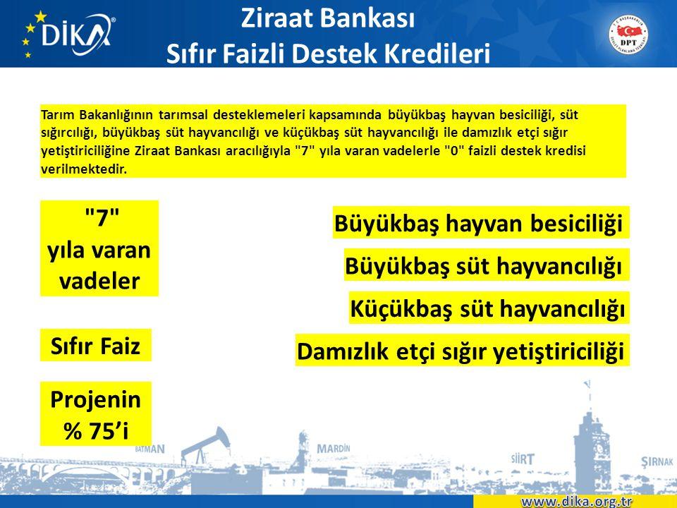 Ziraat Bankası Sıfır Faizli Destek Kredileri Tarım Bakanlığının tarımsal desteklemeleri kapsamında büyükbaş hayvan besiciliği, süt sığırcılığı, büyükb