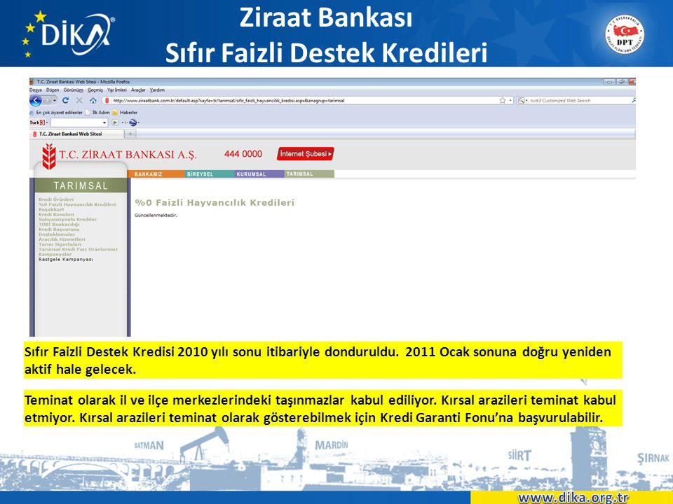 Ziraat Bankası Sıfır Faizli Destek Kredileri • xxx Sıfır Faizli Destek Kredisi 2010 yılı sonu itibariyle donduruldu. 2011 Ocak sonuna doğru yeniden ak