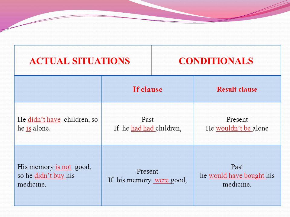 MIXED CONDITIONALS  Past ve Present if clause cümleciklerinin karışımından oluşur.
