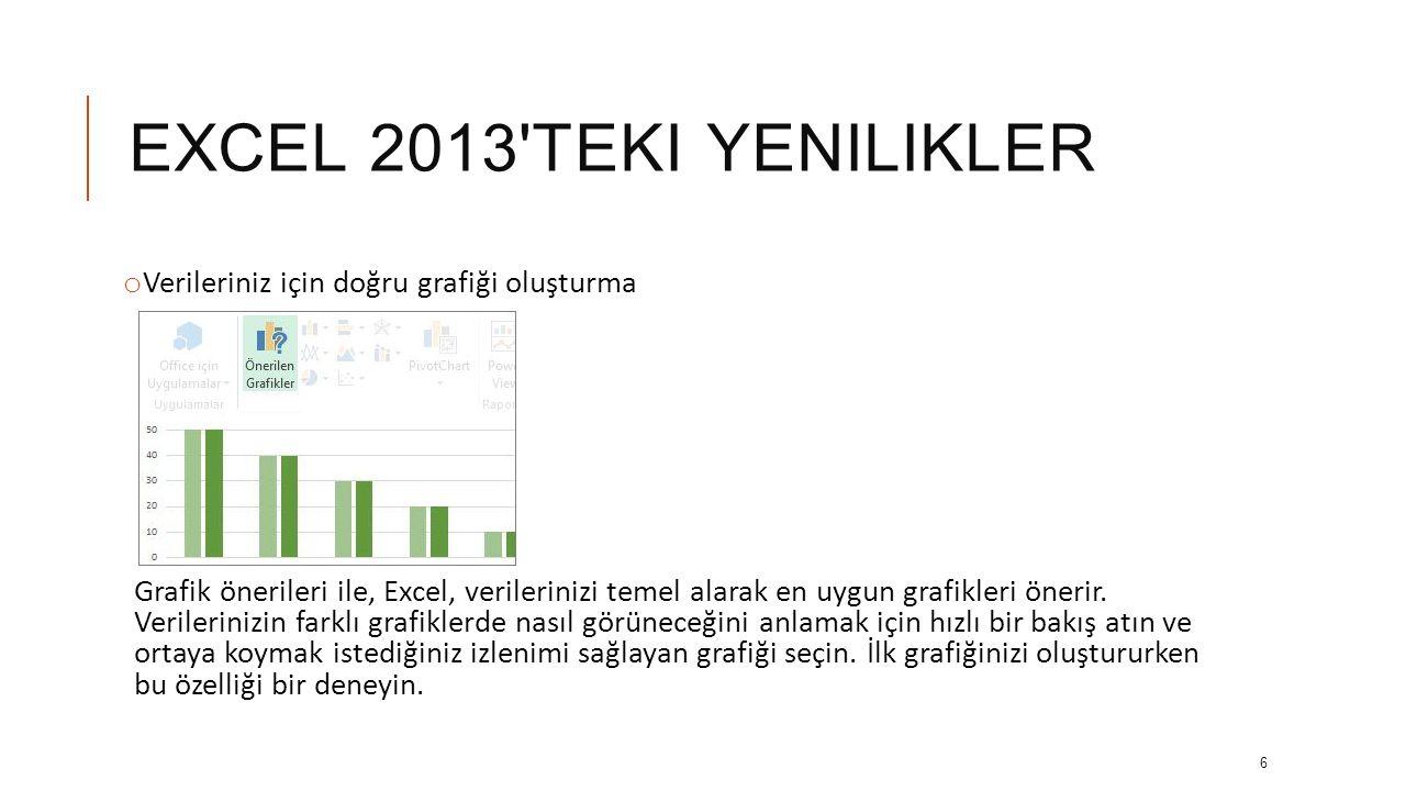 EXCEL 2013 TEKI YENILIKLER o Verileriniz için doğru grafiği oluşturma Grafik önerileri ile, Excel, verilerinizi temel alarak en uygun grafikleri önerir.
