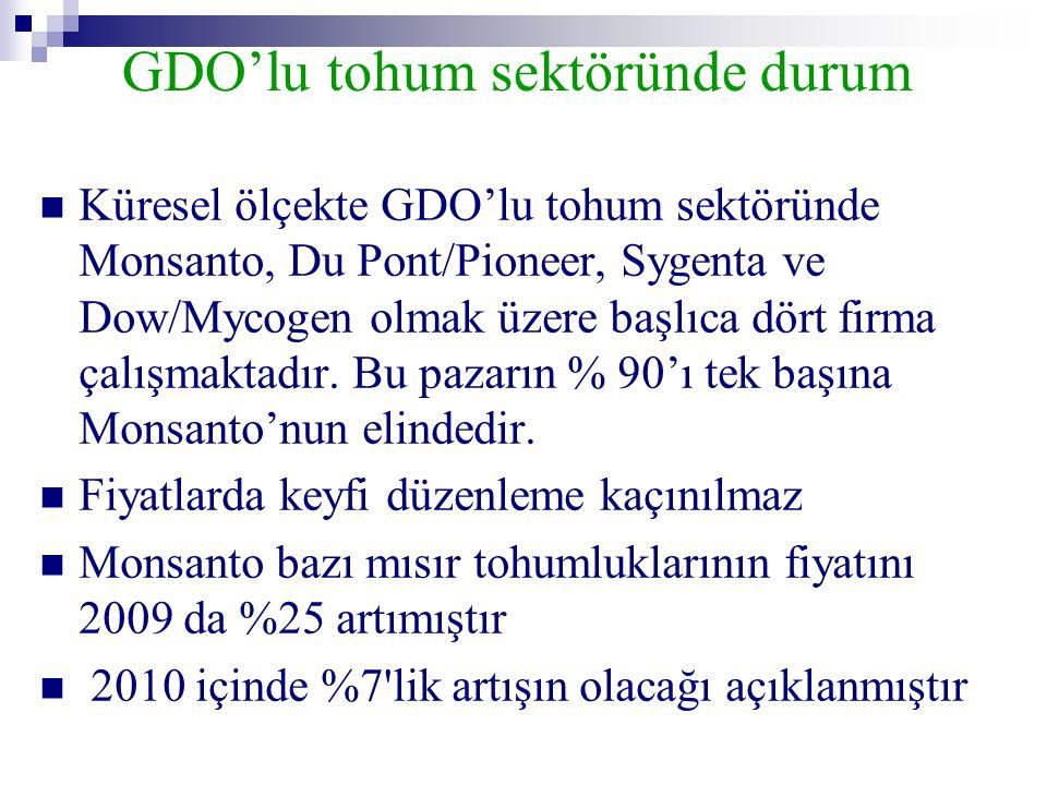 GDO'lu tohum sektöründe durum  Küresel ölçekte GDO'lu tohum sektöründe Monsanto, Du Pont/Pioneer, Sygenta ve Dow/Mycogen olmak üzere başlıca dört fir