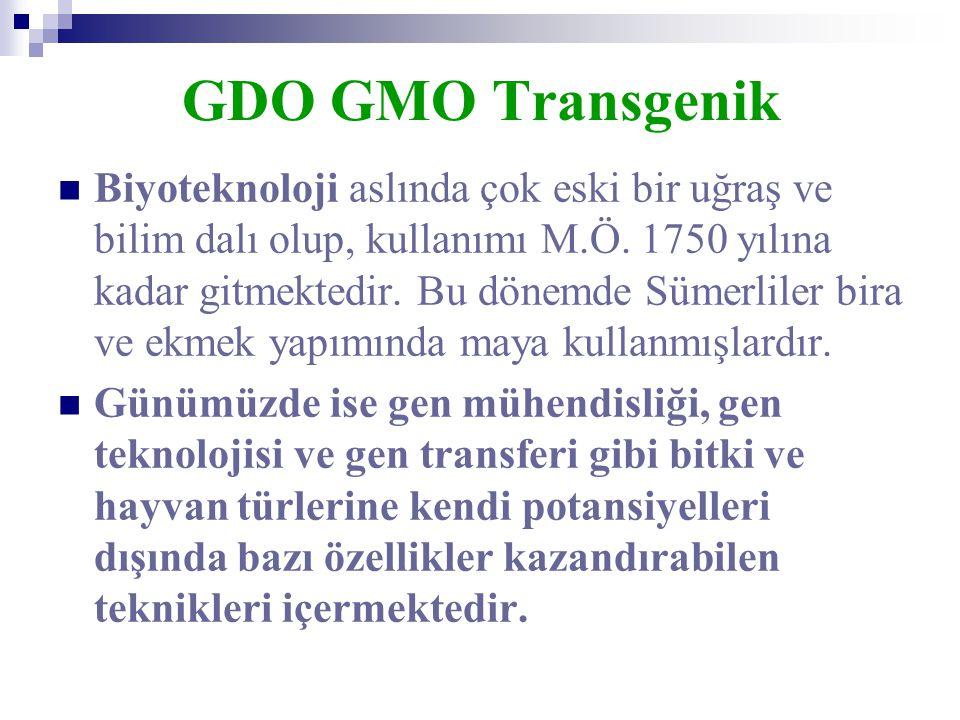GDO GMO Transgenik  Biyoteknoloji aslında çok eski bir uğraş ve bilim dalı olup, kullanımı M.Ö. 1750 yılına kadar gitmektedir. Bu dönemde Sümerliler