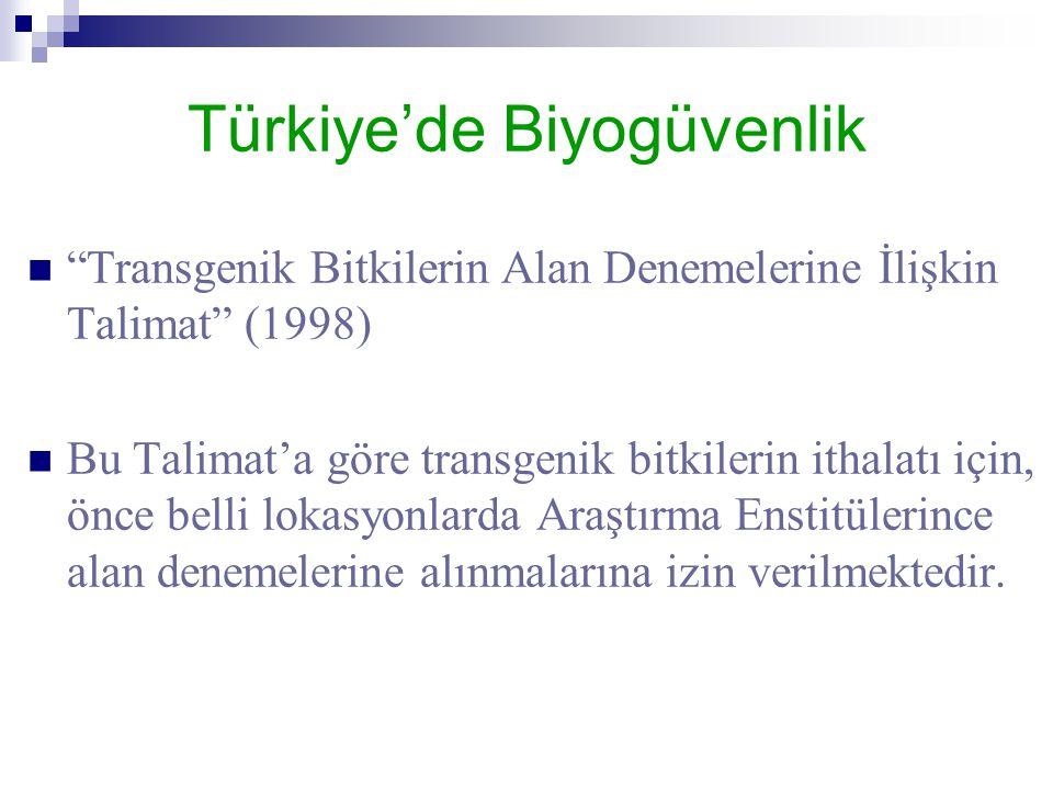 """Türkiye'de Biyogüvenlik  """"Transgenik Bitkilerin Alan Denemelerine İlişkin Talimat"""" (1998)  Bu Talimat'a göre transgenik bitkilerin ithalatı için, ön"""