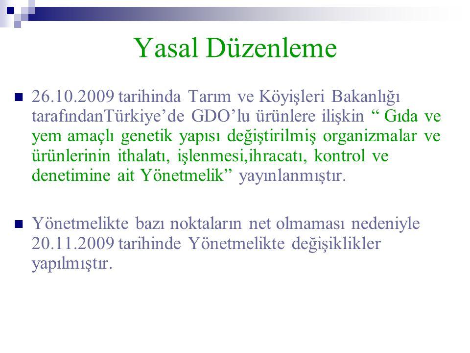"""Yasal Düzenleme  26.10.2009 tarihinda Tarım ve Köyişleri Bakanlığı tarafındanTürkiye'de GDO'lu ürünlere ilişkin """" Gıda ve yem amaçlı genetik yapısı d"""