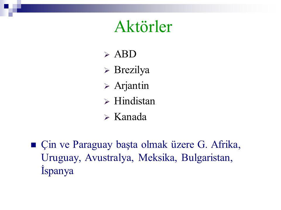 Aktörler  Çin ve Paraguay başta olmak üzere G. Afrika, Uruguay, Avustralya, Meksika, Bulgaristan, İspanya  ABD  Brezilya  Arjantin  Hindistan  K