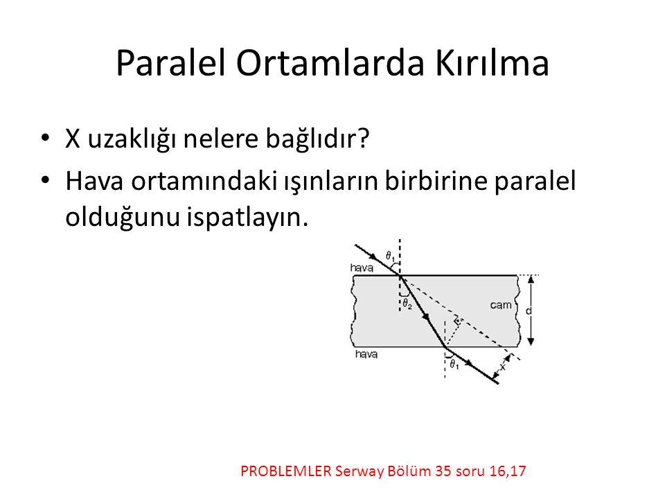 Paralel Ortamlarda Kırılma • X uzaklığı nelere bağlıdır.