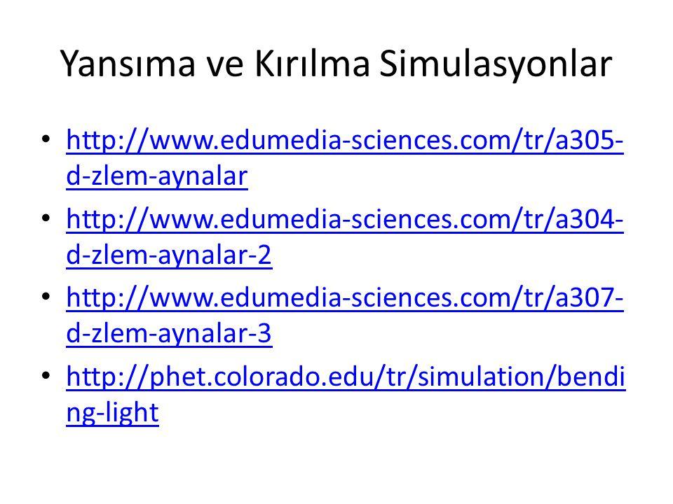 Yansıma ve Kırılma Simulasyonlar • http://www.edumedia-sciences.com/tr/a305- d-zlem-aynalar http://www.edumedia-sciences.com/tr/a305- d-zlem-aynalar • http://www.edumedia-sciences.com/tr/a304- d-zlem-aynalar-2 http://www.edumedia-sciences.com/tr/a304- d-zlem-aynalar-2 • http://www.edumedia-sciences.com/tr/a307- d-zlem-aynalar-3 http://www.edumedia-sciences.com/tr/a307- d-zlem-aynalar-3 • http://phet.colorado.edu/tr/simulation/bendi ng-light http://phet.colorado.edu/tr/simulation/bendi ng-light
