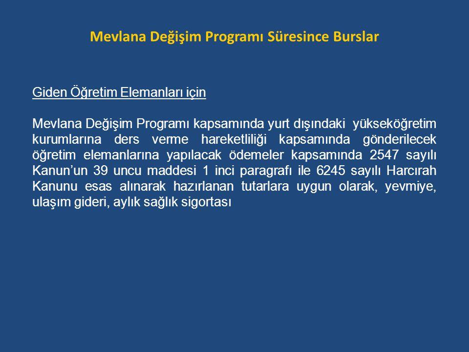 Giden Öğretim Elemanları için Mevlana Değişim Programı kapsamında yurt dışındaki yükseköğretim kurumlarına ders verme hareketliliği kapsamında gönderi