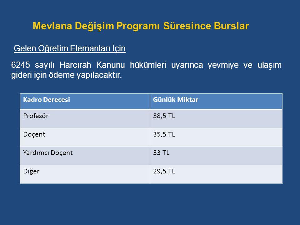 6245 sayılı Harcırah Kanunu hükümleri uyarınca yevmiye ve ulaşım gideri için ödeme yapılacaktır. Gelen Öğretim Elemanları İçin Mevlana Değişim Program
