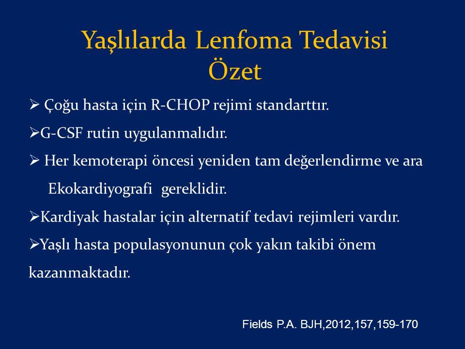 Yaşlılarda Lenfoma Tedavisi Özet  Çoğu hasta için R-CHOP rejimi standarttır.  G-CSF rutin uygulanmalıdır.  Her kemoterapi öncesi yeniden tam değerl