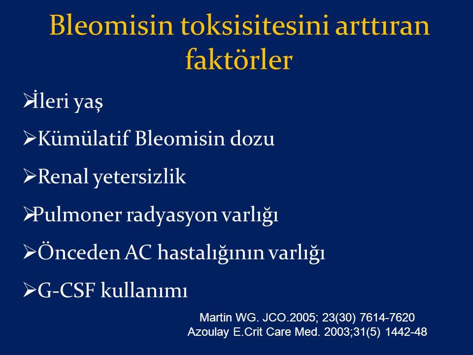 Bleomisin toksisitesini arttıran faktörler  İleri yaş  Kümülatif Bleomisin dozu  Renal yetersizlik  Pulmoner radyasyon varlığı  Önceden AC hastal