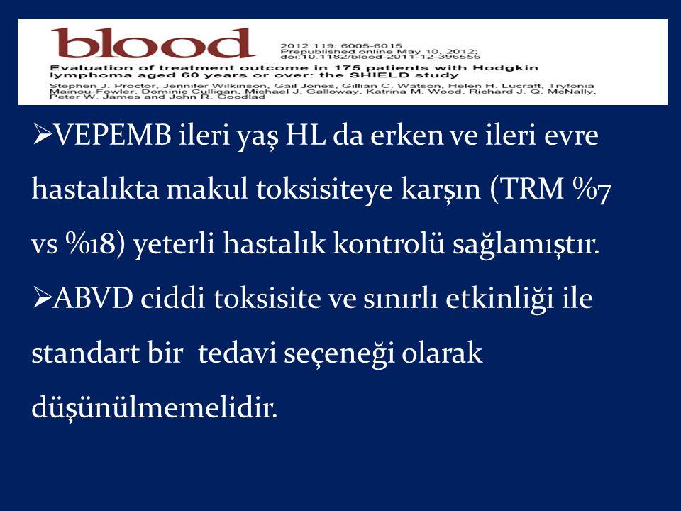  VEPEMB ileri yaş HL da erken ve ileri evre hastalıkta makul toksisiteye karşın (TRM %7 vs %18) yeterli hastalık kontrolü sağlamıştır.  ABVD ciddi t