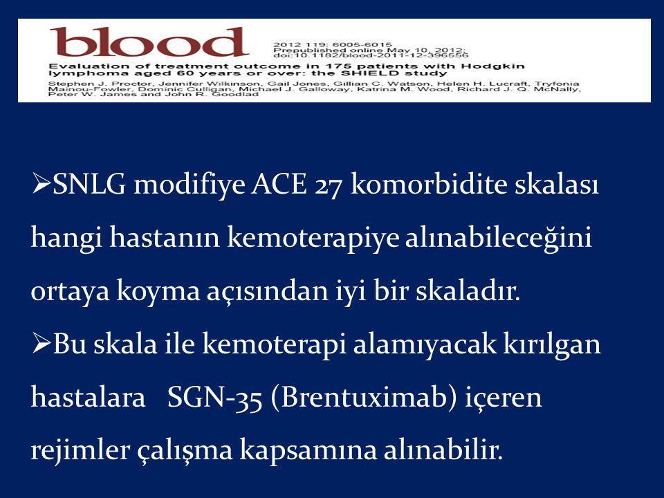  SNLG modifiye ACE 27 komorbidite skalası hangi hastanın kemoterapiye alınabileceğini ortaya koyma açısından iyi bir skaladır.  Bu skala ile kemoter