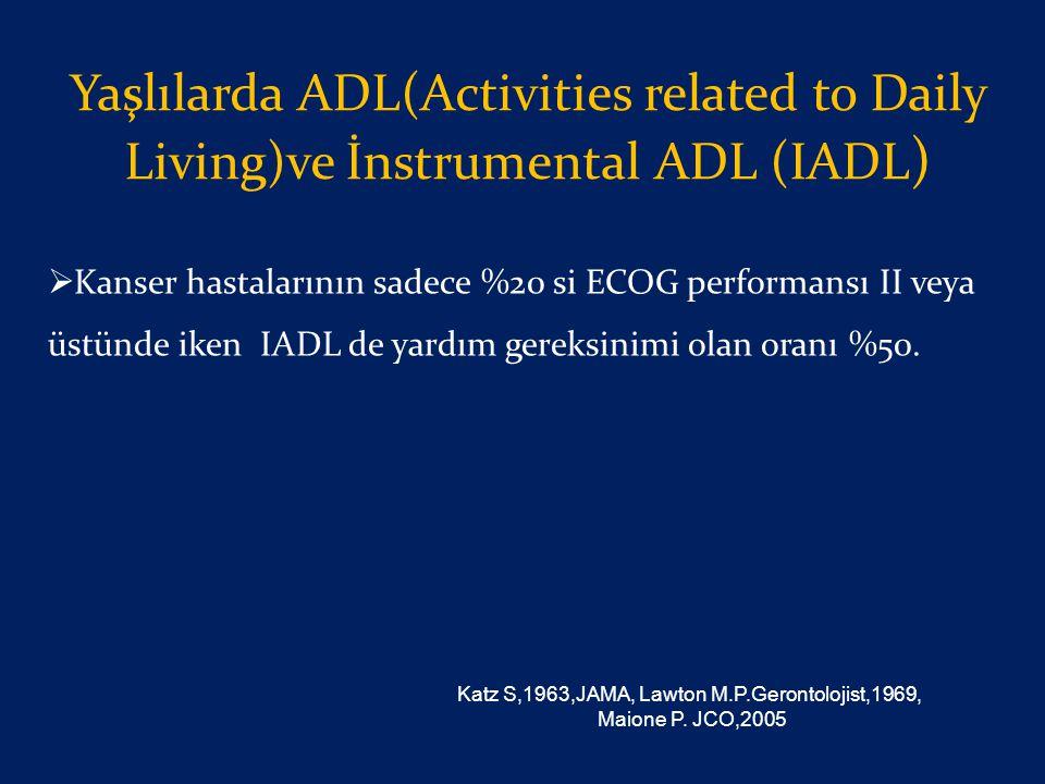 Yaşlılarda ADL(Activities related to Daily Living)ve İnstrumental ADL (IADL )  Kanser hastalarının sadece %20 si ECOG performansı II veya üstünde ike
