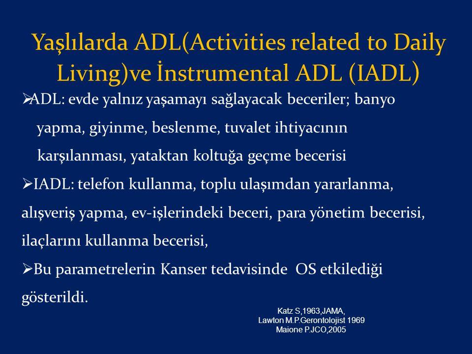 Yaşlılarda ADL(Activities related to Daily Living)ve İnstrumental ADL (IADL )  ADL: evde yalnız yaşamayı sağlayacak beceriler; banyo yapma, giyinme,