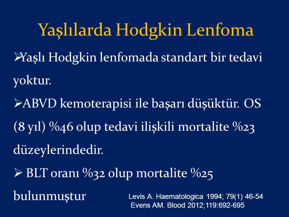 Yaşlılarda Hodgkin Lenfoma  Yaşlı Hodgkin lenfomada standart bir tedavi yoktur.  ABVD kemoterapisi ile başarı düşüktür. OS (8 yıl) %46 olup tedavi i